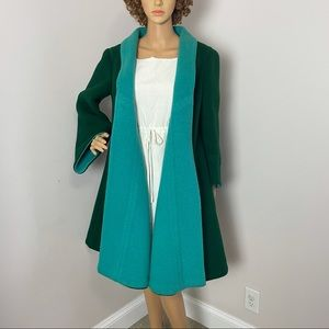 Pauline Trigere Open Front Wool Vintage Coat